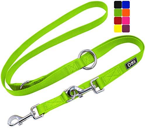 DDOXX Hundeleine Nylon, 3fach verstellbar, 2m   für kleine & große Hunde   Doppel-Leine Zwei Hund Katze...