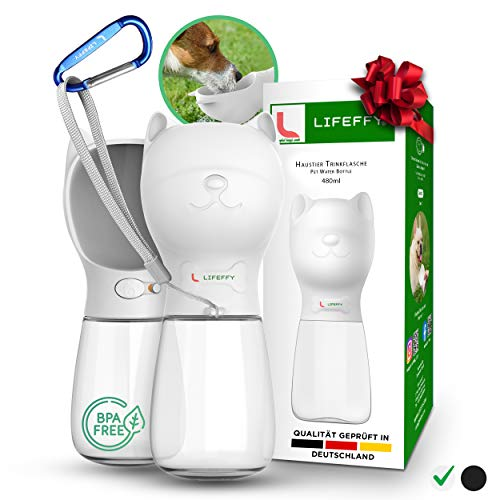 LIFEFFY® Premium 480 ML Hundetrinkflasche für unterwegs – Tragbare Haustier Wasserflasche + Karabiner...