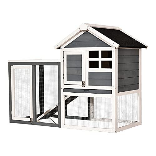 MCombo Hühnerstall Hühnerhaus mit Stange Rampe Auslauf Nistkasten 2020EY, aus Holz Wetterfest, 2 Etage,...