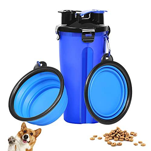 Auslaufsichere tragbare Reise-2-in-1-Futter, Hunde Wasserflasche mit 2 Faltschüsseln, Wasserflasche für...