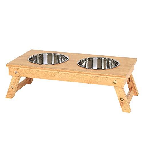 dibea Hundenapf, Futterstation, Futterbar, Napfgestell für Haustiere, Bambus