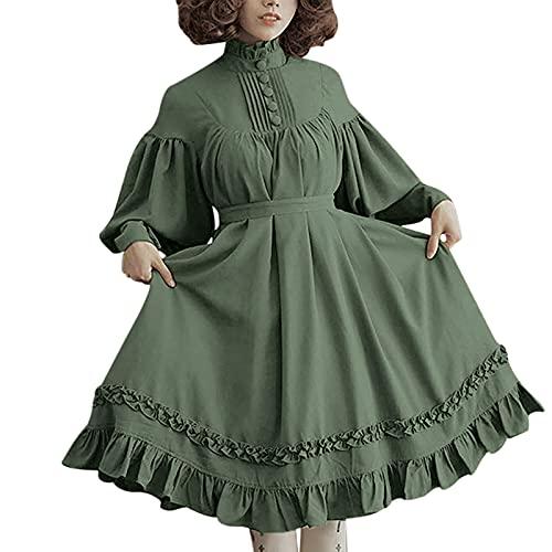 NHNKB Damen Winterkleider mit Gürtel Vintage Beiläufig Kleid Lolita Dress Frau Teenager-Mädchen...
