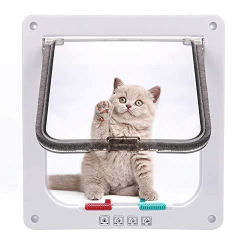 Sailnovo Katzenklappe 4-Way Magnetic Lock hundeklappe Haustiertüre Cat Flap 19 * 20 * 5.5cm Dog Cat Pet...