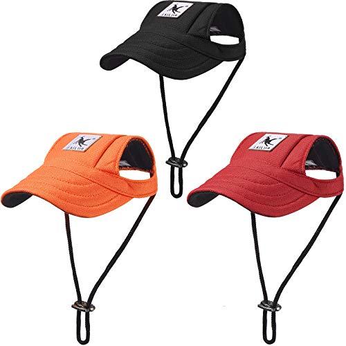 3 Stück Hunde Baseballkappen Haustier Visier Caps Hund Sport Hüte mit Ohrlöchern Sonnenschutz Haustier...