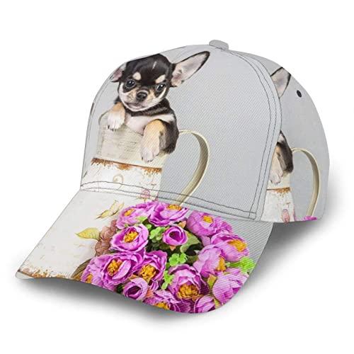 739 Baseball Kappe Süße Hunde Chihuahua Tiere Mit Blume Trucker Baseballcap Sonnenschutz Freizeit...