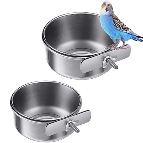 wegreeco 2 Stück Vogelfutterschalen Tassen Edelstahl Papageien-Futterbecher Tierkäfig Wasser Futternapf...