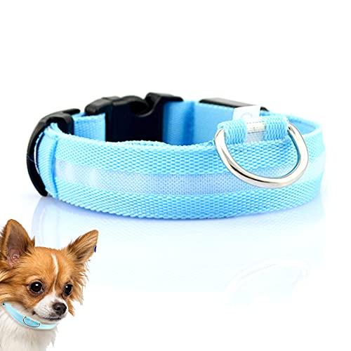 LED Hundehalsband Leuchtend Aufladbar Weiches Nylon Gurtband Hundehalsband Verstellbares Reflektierendes...