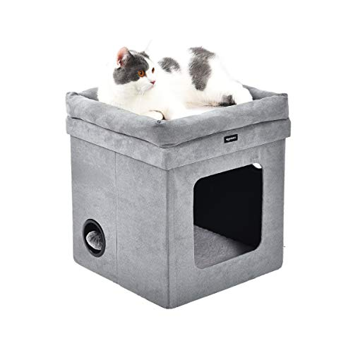 AmazonBasics - Faltbares Katzenhaus, Grau