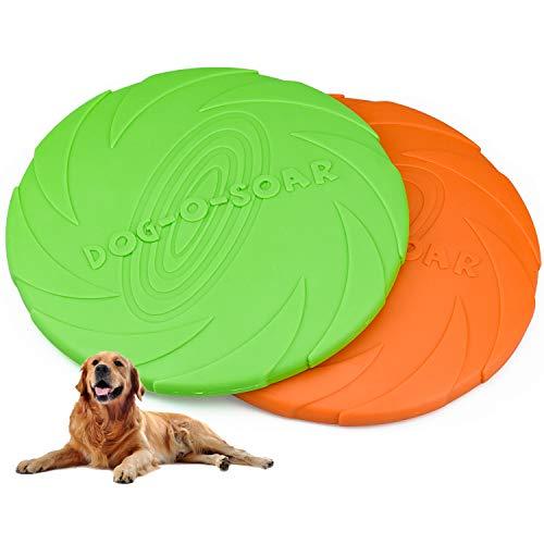Demason Hundefrisbee 2 Stück Frisbee aus Kautschuk Intelligenzspielzeug Naturkautschuk Ø 18cm...