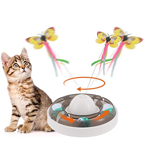 Aceshop Katzenspielzeug Interaktiver Katzenspielzeug mit 360 ° Elektrischem Rotierendem Schmetterling...