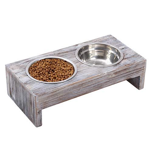 Vencipo Erhöhter Näpfe Katzen mit 2 Fressnäpfe Edelstahl, Holz Futternapf Hund Groß mit Wasser...