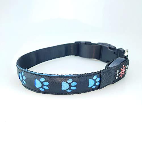 LED Halsband Hund Pfote Leuchthalsband schwarz wiederaufladbar Hundehalsband (blau, M)