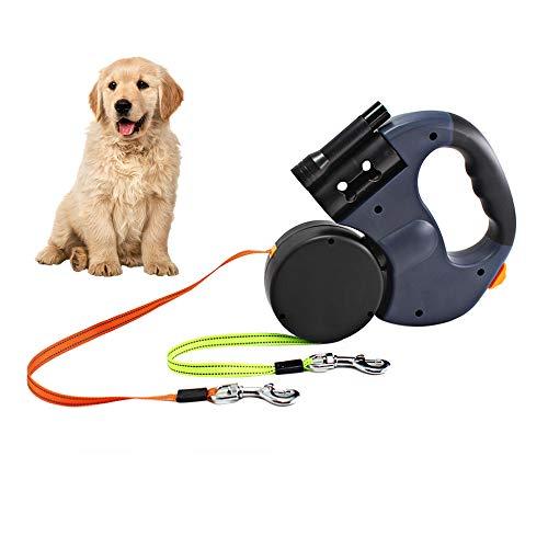 Gobesty Doppelte Einziehbare Hundeleine, 3M Flexible Einziehbare Hundeleine Doppelleine fur Zwei Hunde...