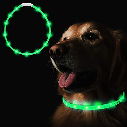 Heatigo LED Halsband Fuer Hunde aufladbar, Night Safety leuchthalsband Hund USB,3-Modus Flicker...