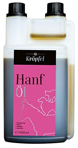 KRÖPFEL Premium Hanföl für Tiere - 1000ml hochwertiges Öl für Pferd, Hund, Katze - Reduktion von...