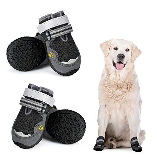Dociote Anti-Rutsch Hundeschuhe Pfotenschutz mit verstellbarem & Reflektierendem Klettverschluss 4 Stück...