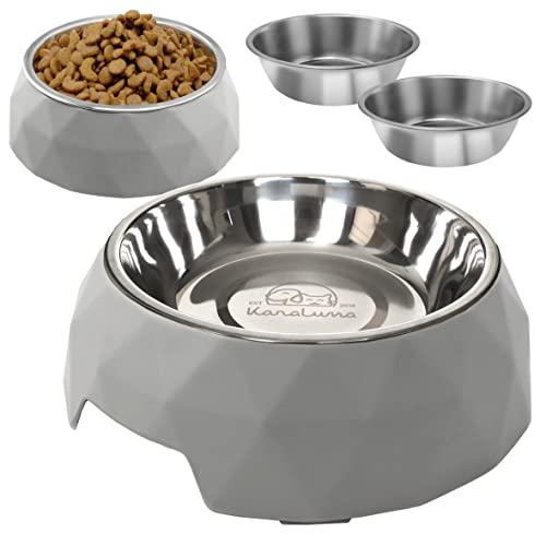 KaraLuna Napfset, 2 Näpfe mit 4 Napfeinsätzen I 400 ml oder 700 ml I Katze Hund Welpen Futternapf...