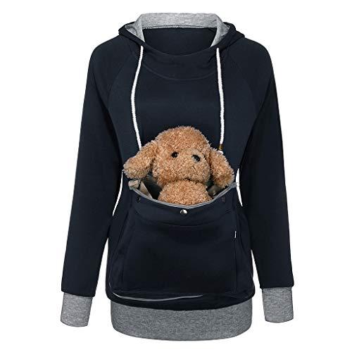 Damen Kapuzenpullover mit Katzen,Hund Tasche Hundetasche Katze Sweatshirt Pullover Pulli Hoodie Kapuze...