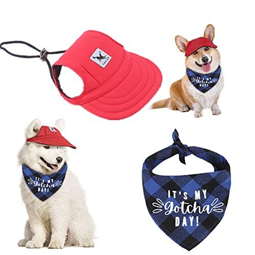 AOCZZ Hunde-Baseballkappe, Hunde Sportmütze, Visierkappe mit Ohrlöchern und Kinnriemen für Hunde und...