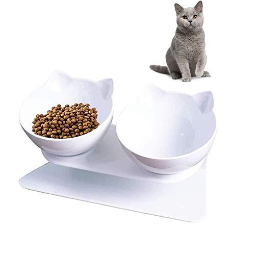 Futternapf für Katzen, Doppelnapf für Katzen mit Angehobenem Ständer 15 ° Geneigt Katzennäpfe,...