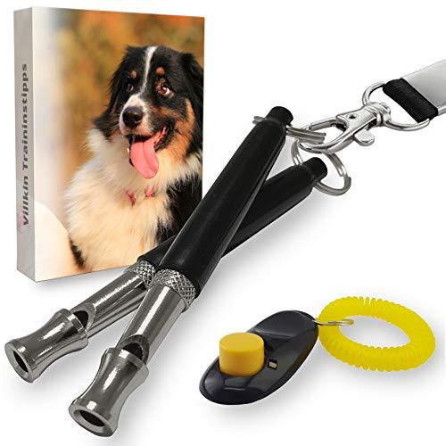 Villkin 2X Hundepfeife +Bonus: Hunde-clicker, Schlüsselband und E-Book - Kontrolle erlangen und Bellen...