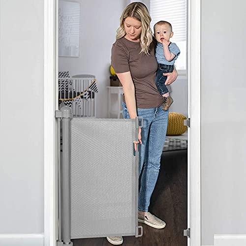 YOOFOR Treppenschutzgitter Ausziehbare für Baby und Haustier, 0-180 cm, 85 cm Hoch Baby Absperrgitter...