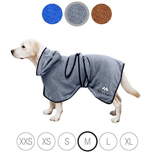 Bella & Balu Hundebademantel aus Mikrofaser + Pfotentuch – Saugfähiger Hunde Bademantel zum Trocknen...