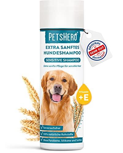 PetsHero Hundeshampoo Sensitiv Bio - Extra sanfte Pflege für Sensible Haut - 250 ml - für Welpen...