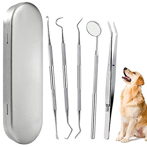 Zahnsteinentferner Hund Zahnreinigung Kit Edelstahl Zahnpflegeset Zahnreinigungswerkzeug für Haustier...