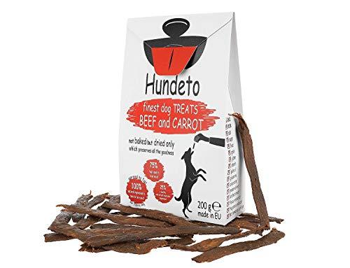 Hundeto Hochwertige Hundeleckerlis - Rindfleisch und Karotten - Kein Künstlicher Unsinn - 200g