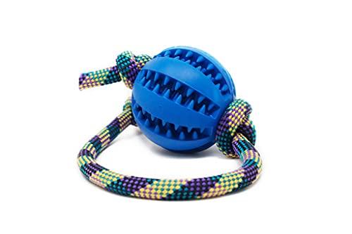 My Joone Made with Love | Hundespielzeug aus Tau in der Farbe lilagelb und Vollgummiball/Dentalball für...