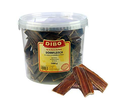 DIBO Dörrfleisch, 1.000g-Eimer, der kleine Naturkau-Snack oder Leckerli für Zwischendurch, Hundefutter,...