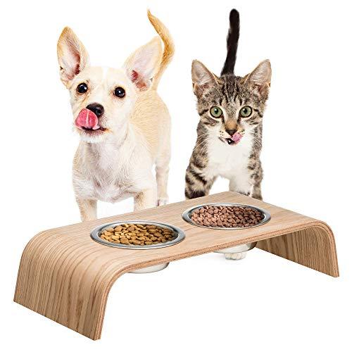 Hölzerner Erhöhter Ständer für eine gesündere Haltung beim Essen für Katzen und Hunde inklusive...