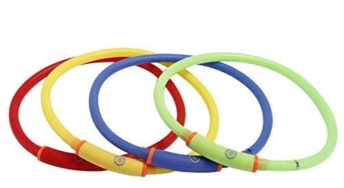 Hundehalsband, LED, Blau, Leuchthalsband für Hunde, Wiederaufladbar mit USB, Ladekabel, Tierbedarf,...