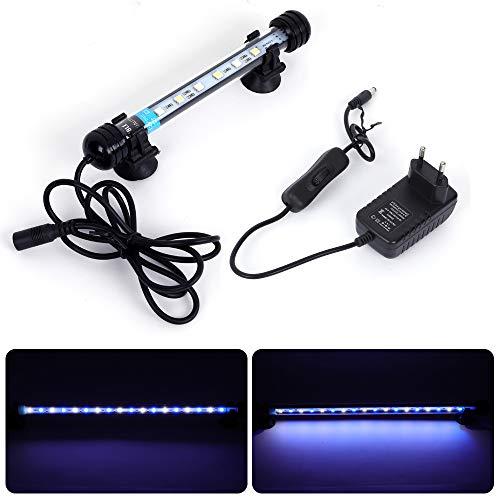 MLJ Aquarium Beleuchtung, LED Aquarium Leuchte 18 cm Wasserdicht Aquarium Lampe Stecker EU Unterwasser...
