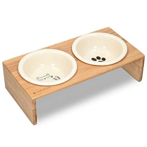 Navaris Futternapf Katze mit Bambus Halter - Futterstation Set Keramiknapf für Katzen Hunde - Keramik...