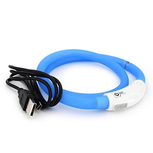 PRECORN LED USB Silikon Hundehalsband blau Halsband Hund Katzenhalsband Leuchthalsband für große kleine...
