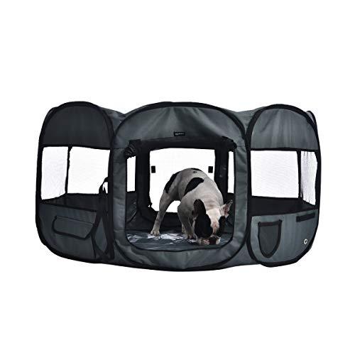 Amazon Basics Tragbarer, weicher Haustier-Laufstall, 114 cm, Grau