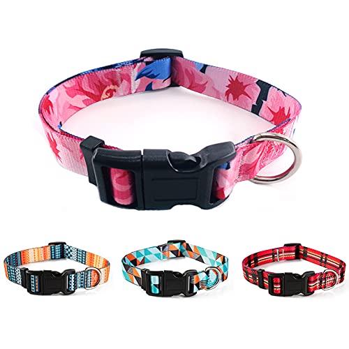 Verstellbares Hundehalsband, Nylonhalsband mit Sicherheitsschnalle, Geometrischer Boho-Druck,...