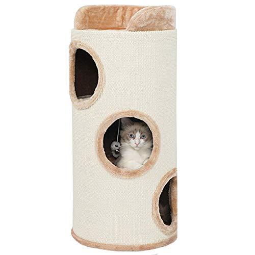 Lqdp Kratzbaum Katzenkratzbaum Großer Beige Katzenturm/Katzenhöhle für Kätzchen Zum Entspannen und...