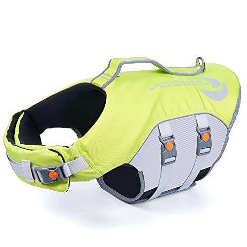 ThinkPet Hund Schwimmweste Einstellbare Rettungsweste Reflektierende Lifesaver mit Auftrieb