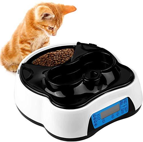 pedy 2 in 1 Futterautomat Katze, Hund Automatischer Futterspender Pet Feeder mit Timer, LCD Bildschirm...