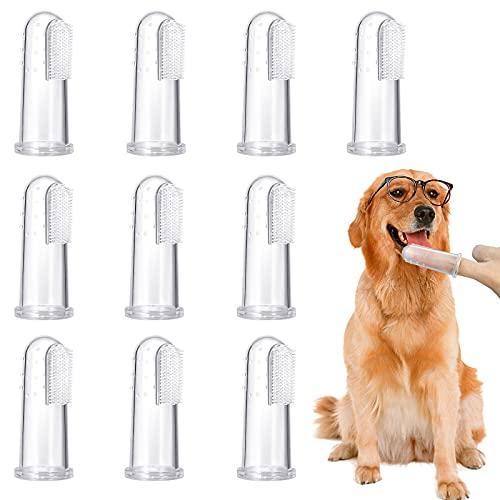 10 Stück Pet Finger Zahnbürste, weiche Silikon Pet Finger Zahnbürste, Lebensmittelsicherheit...