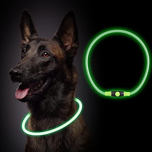 Leuchthalsband Hund,LED Hundehalsband Leuchtend USB Wiederaufladbar, Längenverstellbarer Haustier...
