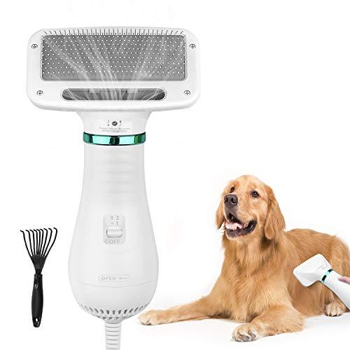 AUKUYEE Haartrockner Bürste für Hunde, Hundefön mit Fellkamm, Einstellbare Temperatur, 2 in 1 Tragbare...