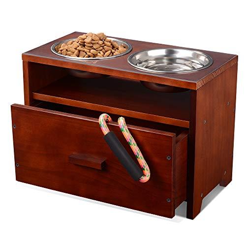 Erhöhte Hundenapf Hundebar Futterbar Holz Hund fütterungsstation mit Aufbewahrung sschublade für...
