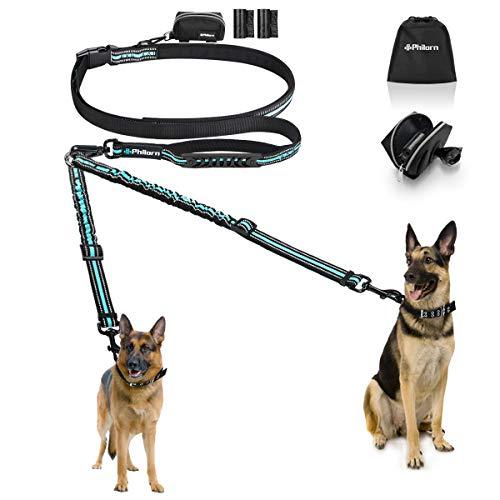PHILORN Freihand Hundeleine für 2 Hunde (110 lbs) - Ablösbar & Reflektierend & 66-84in Einstellbar -...