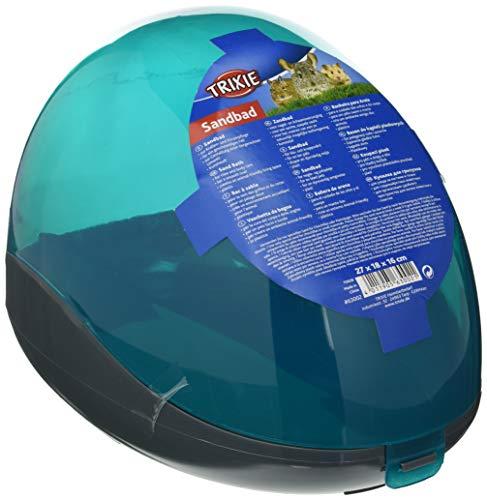 Trixie 63002 Sandbad für Chinchillas und Degus, 27 × 18 × 16 cm, türkis/grau