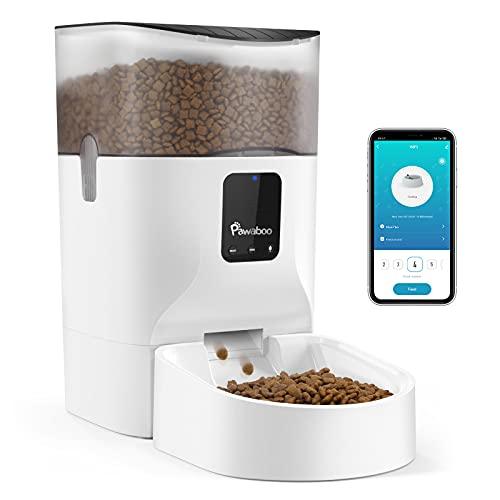 Pawaboo 7L Automatischer Futterspender, WiFi Haustier Futterautomat mit Timer Automatisierte...
