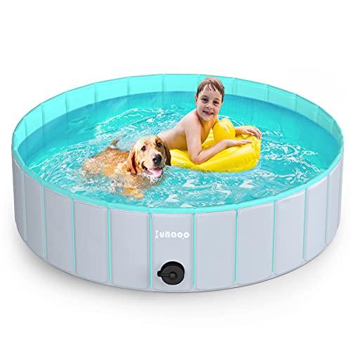 lunaoo Hundepool fur Große Hunde, Faltbare Schwimmbecken Hundebadewanne Hund Planschbecken für Kinder...